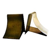 "MidCentury Modernist Brass ""Ski Slope"" Bookends"
