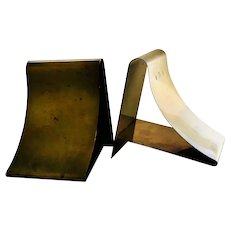 "MidCentury Modernist Brass ""Ski Slope"" Bookends"