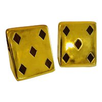 "Ben Seibel MidCentury ""5 of Diamonds"" Brass Bookends with Inset Walnut, for Jenfredware"