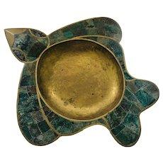 "Los Castillo Taxco 14"" Handwrought Inlaid Brass Duck-Form Bowl"