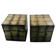 RARE Curtis Jere MidCentury Woven Bronze Cube Bookends