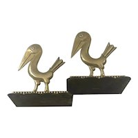 RARE Hagenauer Art Deco Brass Pelican Bookends, 1928