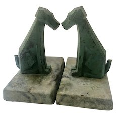 Art Deco Cubist Airedale Terrier Dog Bookends