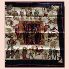 LIKE NEW Hermes Scarf: Le Temps des Marionnettes with Hermes Box