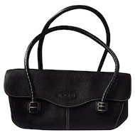 Tod's Black Pebbled Leather Corniche Wave East/West Satchel