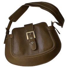 Tod's Olive Green Leather Shoulderbag with Contrast Stitching and Buckle Detail