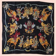 Hermes Jacquard Silk Scarf: Les Fetes du Roi Soleil with Hermes Box