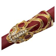 Kenneth Jay Lane Leather Belt with Rhinestone and Enamel Koi Fish Buckle