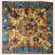 "LIKE NEW Hermes Scarf: ""Kachinas"" in Hermes Box"
