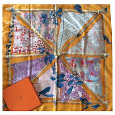 "LIKE NEW Hermès Scarf in Box: ""Le Robinson Chic"""
