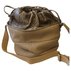 Gorgeous Bottega Veneta Snakeskin and Jute Drawstring Bucket Bag