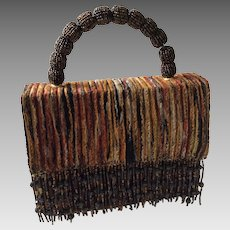 Vintage Funky Boxy Handbag with Beaded Handle and Fringe Detail by Franchi