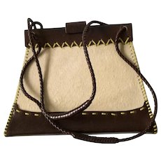 RARE Vintage Bottega Veneta Small Pony Hair and Leather Bag with Topstitching Detail, MINT CONDITION