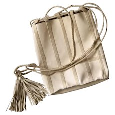 Bottega Veneta Cream Patent Leather Crossbody Bag with Suede Trim and Tassels