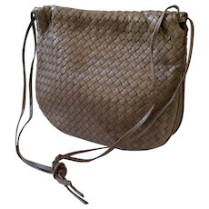 Bottega Veneta Taupe Intrecciato Woven Leather Shoulderbag