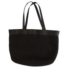 Bottega Veneta Large Black Woven Raffia and Textured Leather Tote Bag