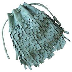 Bottega Veneta Limited Edition 134/150 Leather Fringe and Intrecciato Drawstring Bag