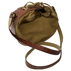 Bottega Veneta Italian Khaki Canvas Crossbody Bag with Alligator Embossed Leather Trim