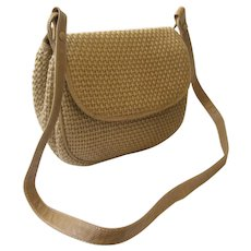 Bottega Veneta Woven Jute and Textured Leather Shoulderbag