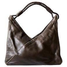 Bottega Veneta Vintage Chocolate Brown Leather Bag with Intrecciato Handle