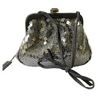 Bottega Veneta Black Suede Evening Bag with Transparent Sequins