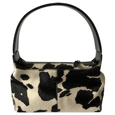 TOD'S Cowhide Print Pony Hair and Black Leather Bag