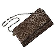 Judith Leiber Leopard Print Ponyhair Bag with Chain Strap