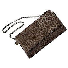 Judith Leiber Leopard Print Ponyhair Bag with Chain Strap