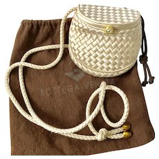 Bottega Veneta Ivory Satin Intrecciato Evening Bag with Rhinestone Clasp
