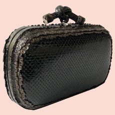Bottega Veneta Top Knot Clutch Evening Bag with Snakeskin and Leather Lace Trim