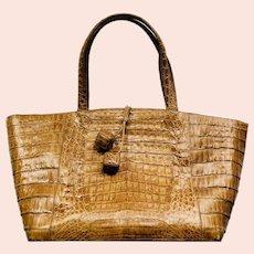 Vintage Nancy Gonzalez Handcrafted Caiman Crocodile Handbag