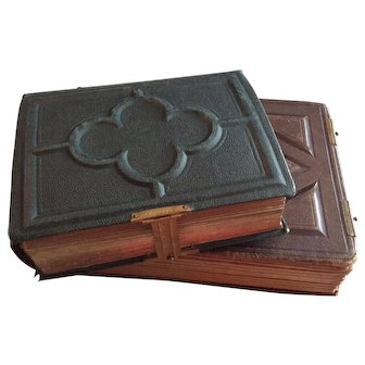 Set of 2 Antique French Photo Albums