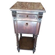 French Walnut Low Nightstand Henri II Style with marble top