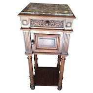 French Walnut Nightstand Henri II Style with marble top