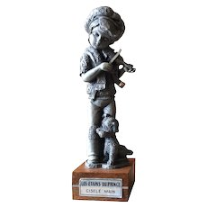 French pewter figurine of boy playing the violin by Les Etains du Prince
