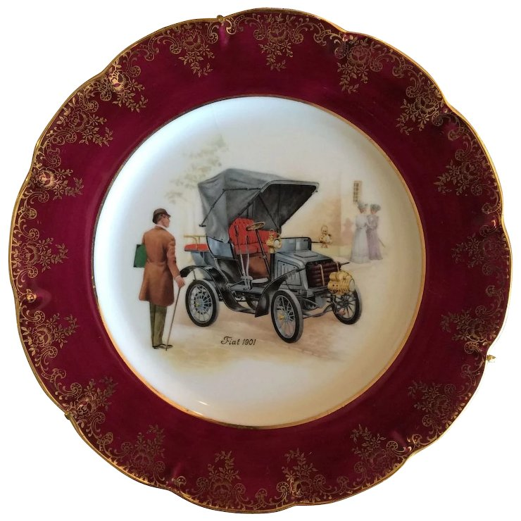 French Limoges Decorative plate with Fiat 1901  sc 1 st  Ruby Lane & French Limoges Decorative plate with Fiat 1901 : Luxury French ...