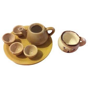 Miniature Tea Set and Chambre Pot for Dollhouse