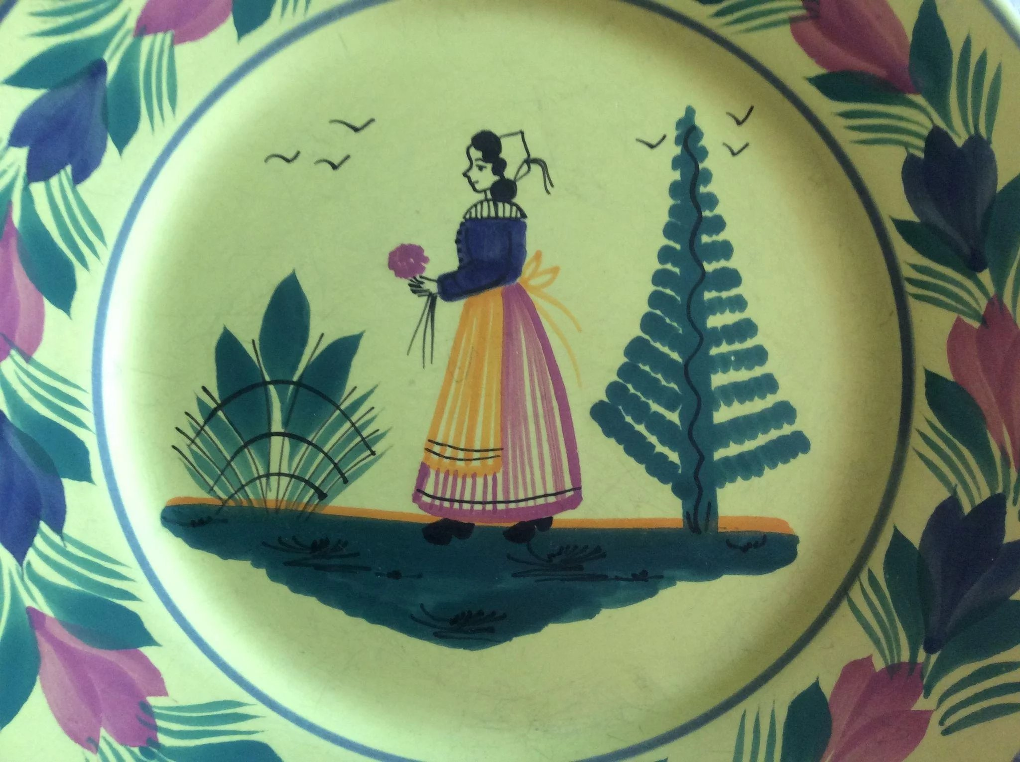 Small decorative quimper plate luxury french collection for Deco quimper