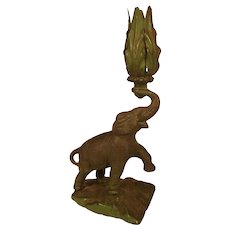 Art Deco Period Cast Iron Elephant Candle Holder