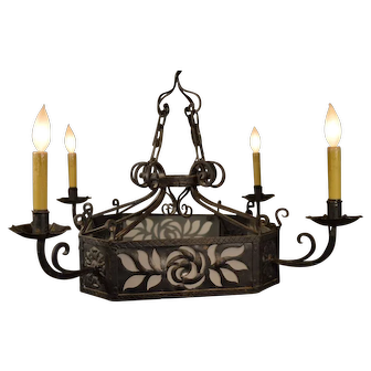 Fantastic 1920's French Wrought Iron Chandelier