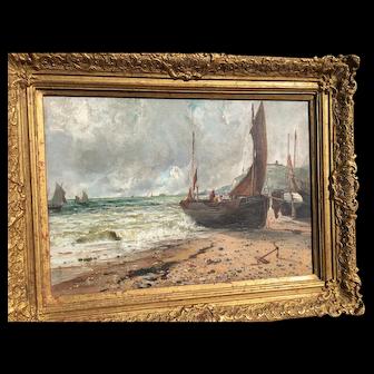 Gustave de Breanski (1856-1898) Oil on Canvas Coastal Scene