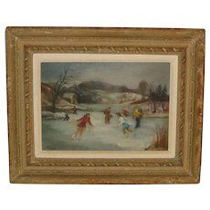 Vintage Sigmund Kozlow (1913-1990)  modernist *SKATERS* oil painting - ARMORY EXHIBITED!