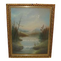 Antique Hudson River / White Mountain  John Bower *FISHING* pastel painting