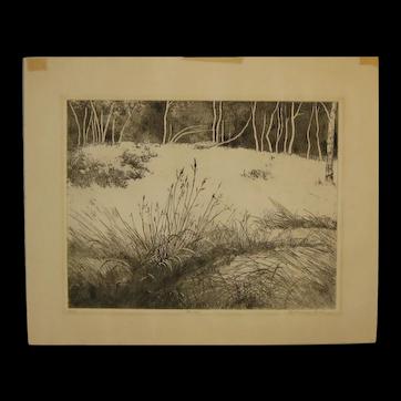 "Vintage 1965 BEATRICE BERLIN (1922-2010) ""Birches"" Winter Landscape Etching - Listed Artist"