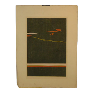 "Vintage BEATRICE BERLIN (1922-2010) ""Islands 6"" MID CENTURY Modern ABSTRACT Intaglio Etching"