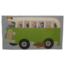 Original CLARE BEATON 'Wheels on the Bus' Sewn Felt ILLUSTRATION - Children's 'Playtime Rhymes' BOOK