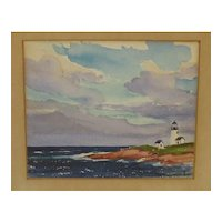 1932 Stanley Wingate Woodward (1890-1970) 'LIGHTHOUSE' painting - Massachusetts Cape Cod coast
