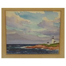 1932 Stanley Wingate Woodward (1890-1970) 'LIGHTHOUSE' painting - Massachusetts Cape Cod coast