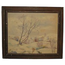 """WEBSTER KULLBERG '""""February Afternoon' Connecticut Winter Painting - WPA Listed"""