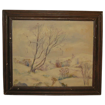 "WEBSTER KULLBERG '""February Afternoon' Connecticut Winter Painting - WPA Listed"